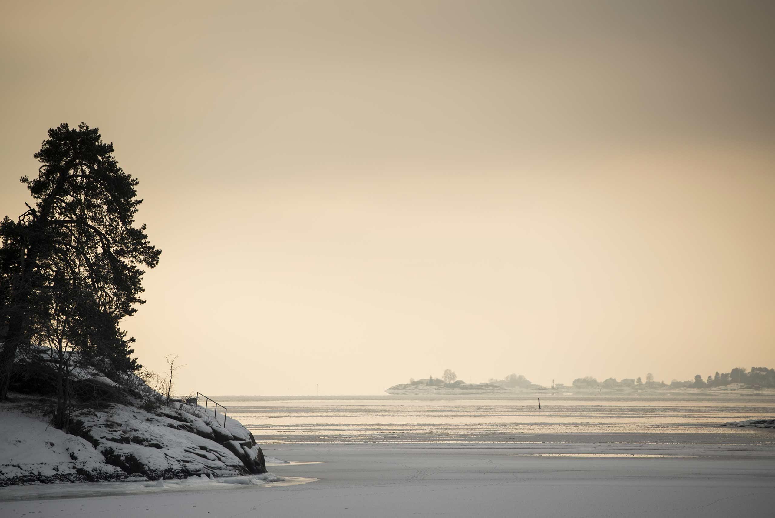 Bilde over Oslofjorden på vinteren