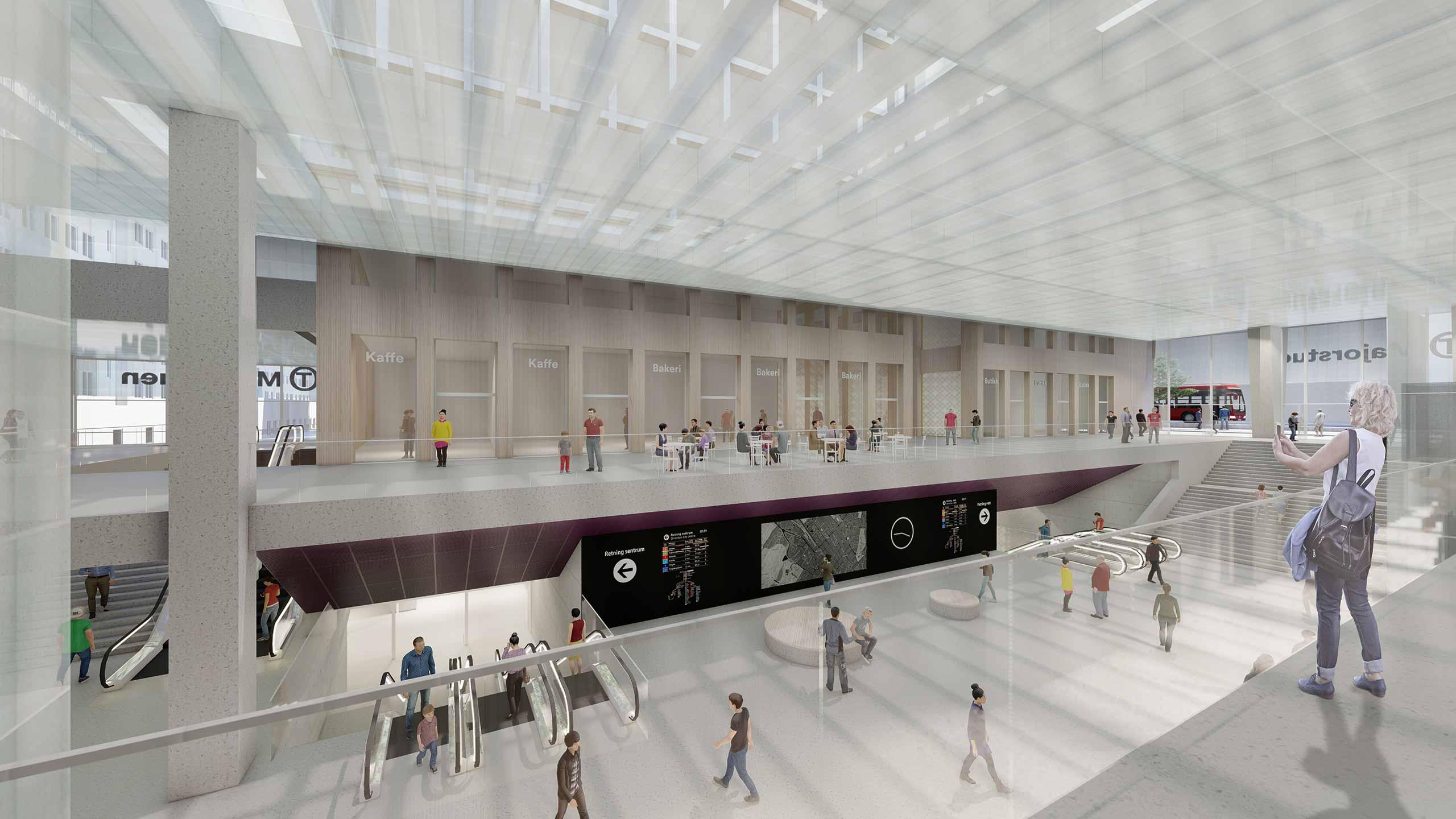 Illustrasjon av nye Majorstuen stasjon innvendig.