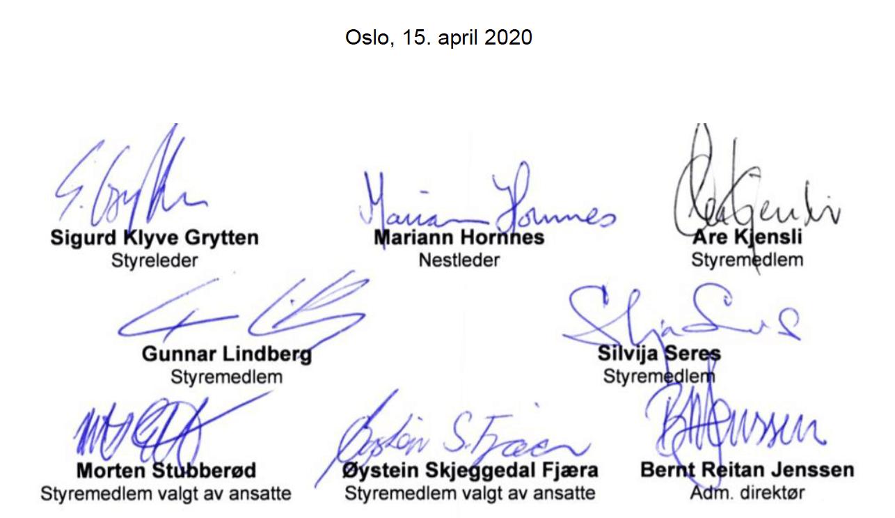 Signatuerer til styret i Ruter