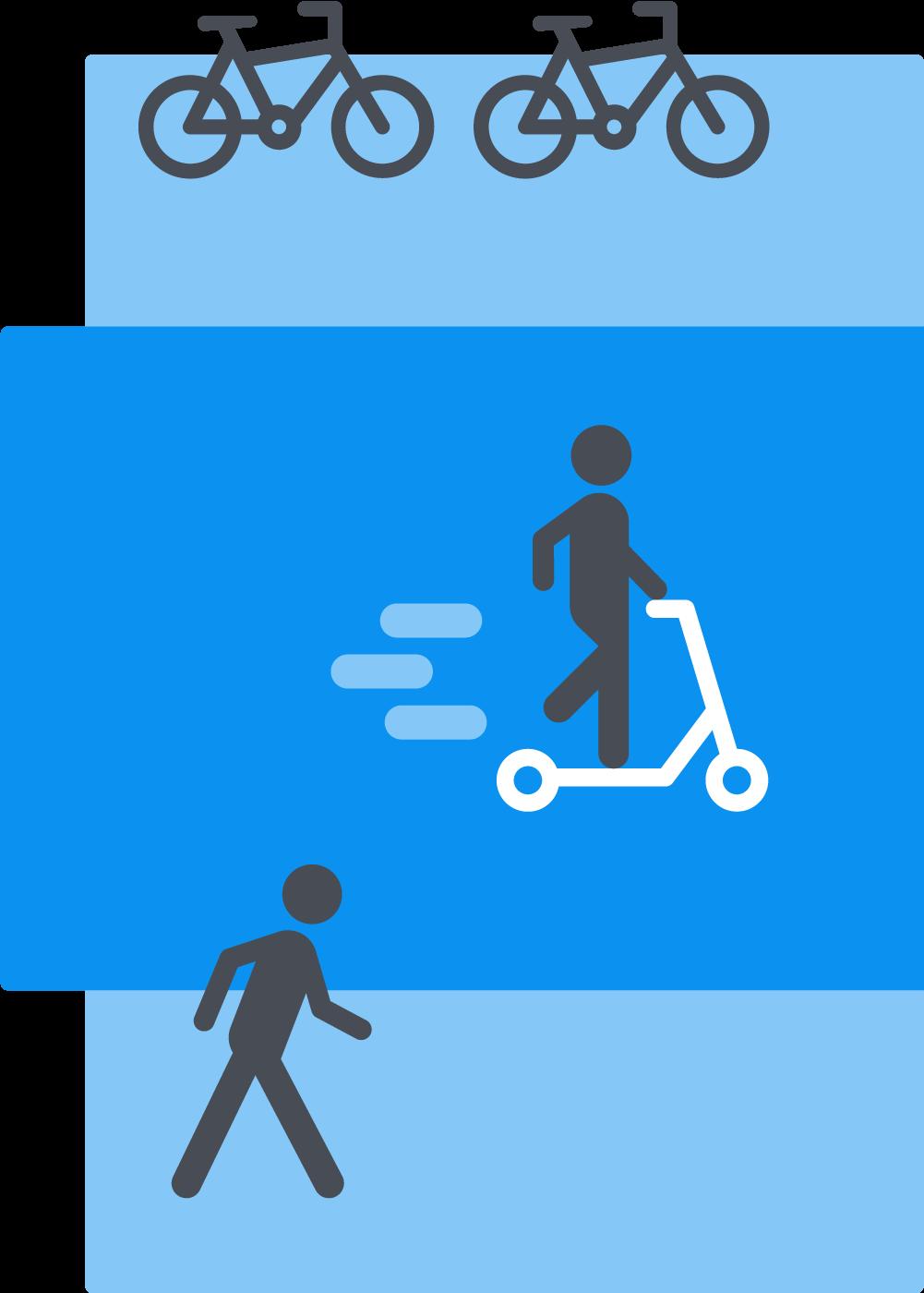 Illustrasjon av sykkel, sparkesykkel og gående