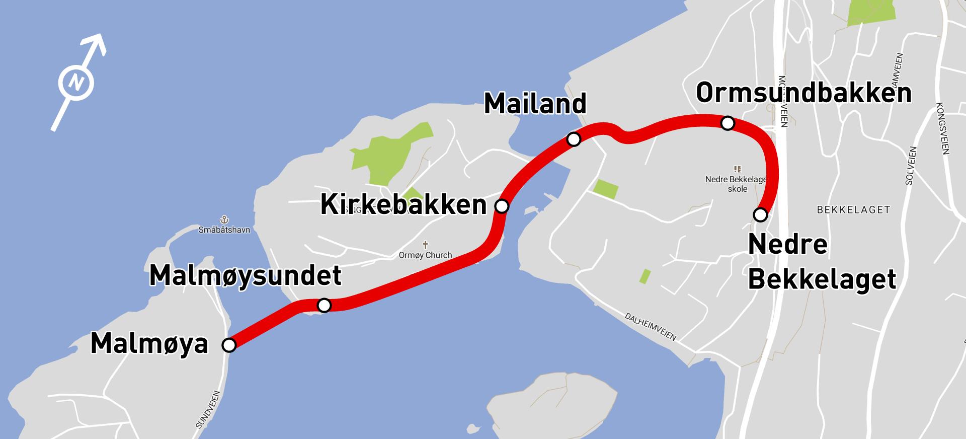 Kart over ruten til selvkjørende buss på Ormøya.