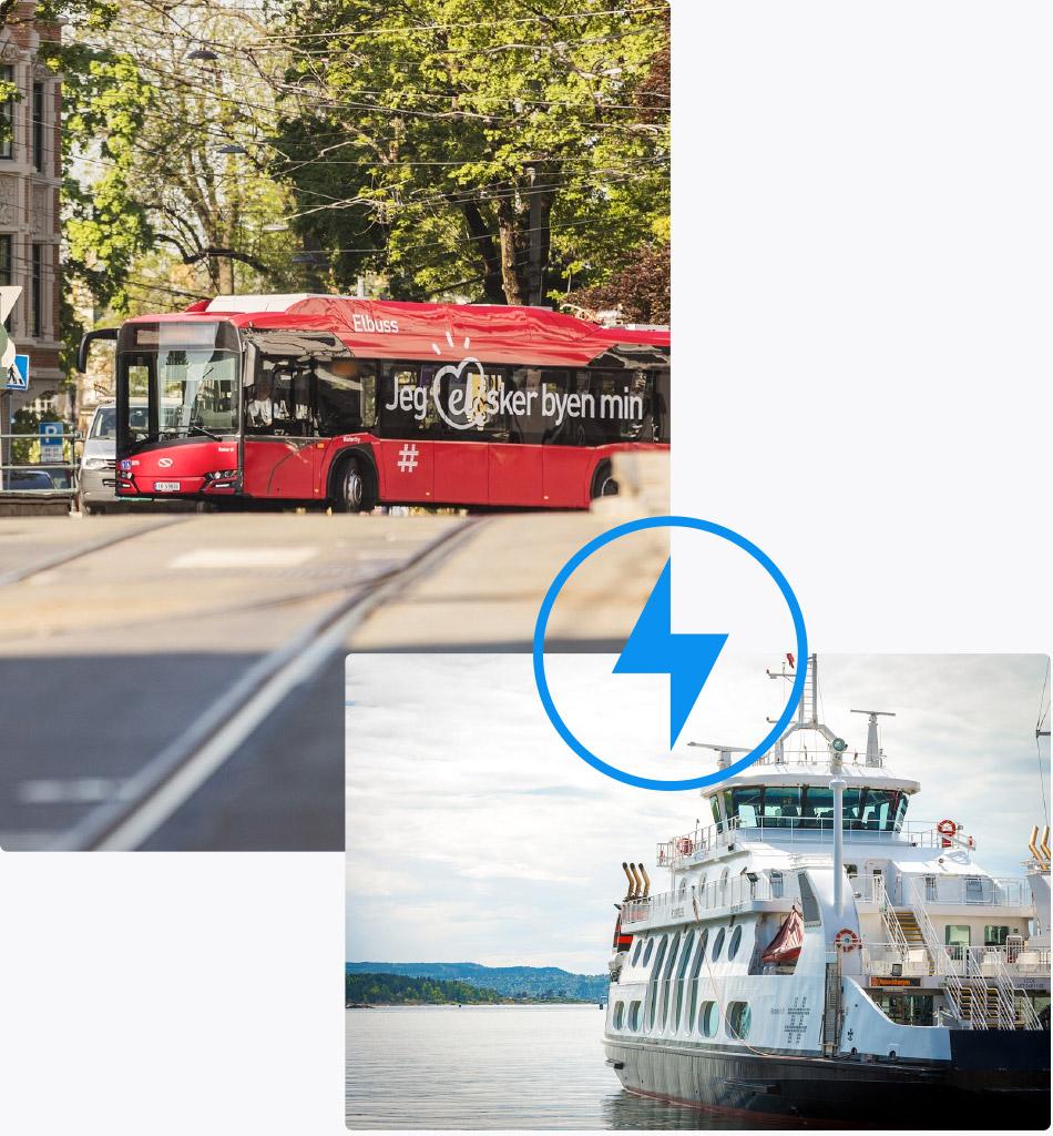 Bilde av elbuss og elbåt